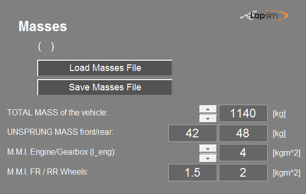 Printscreen of the LapSim GUI showing the input boxes for the vehicles mass moment of inertia