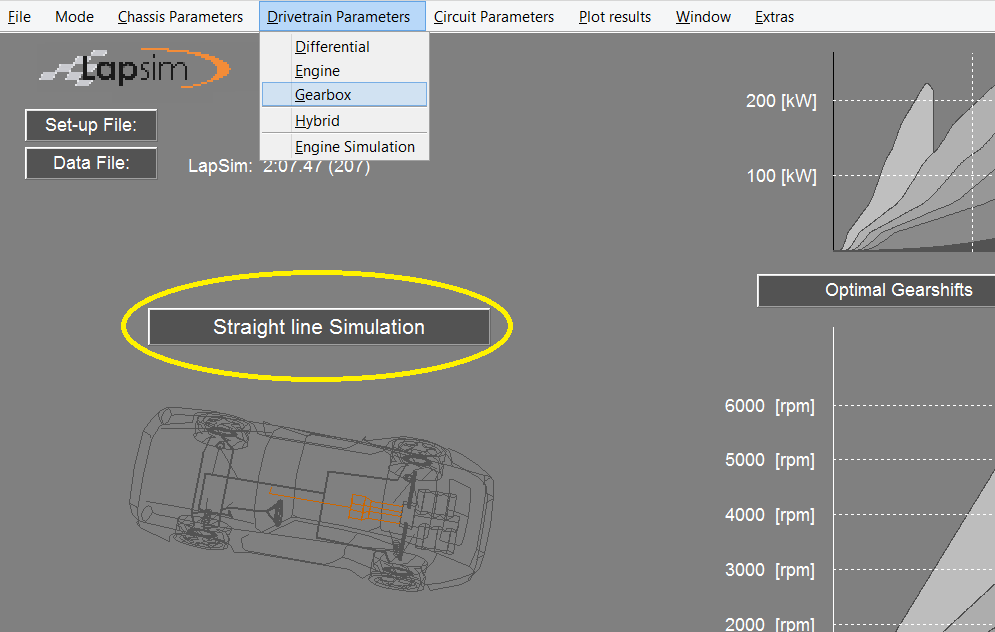 Figure showing the gearbox menu with the option to select the straight line acceleration