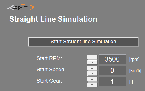 Printscreen of the LapSim GUI showing the start options of the straight line acceleration