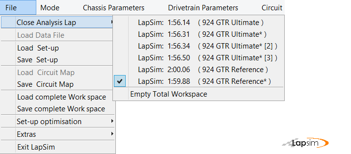 The workspace control can be found under the file menu in LapSim